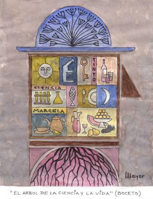 Boceto de la obra El árbol de la ciencia y de la vida - De Álvaro Mayor (obra 1 de Mayor)